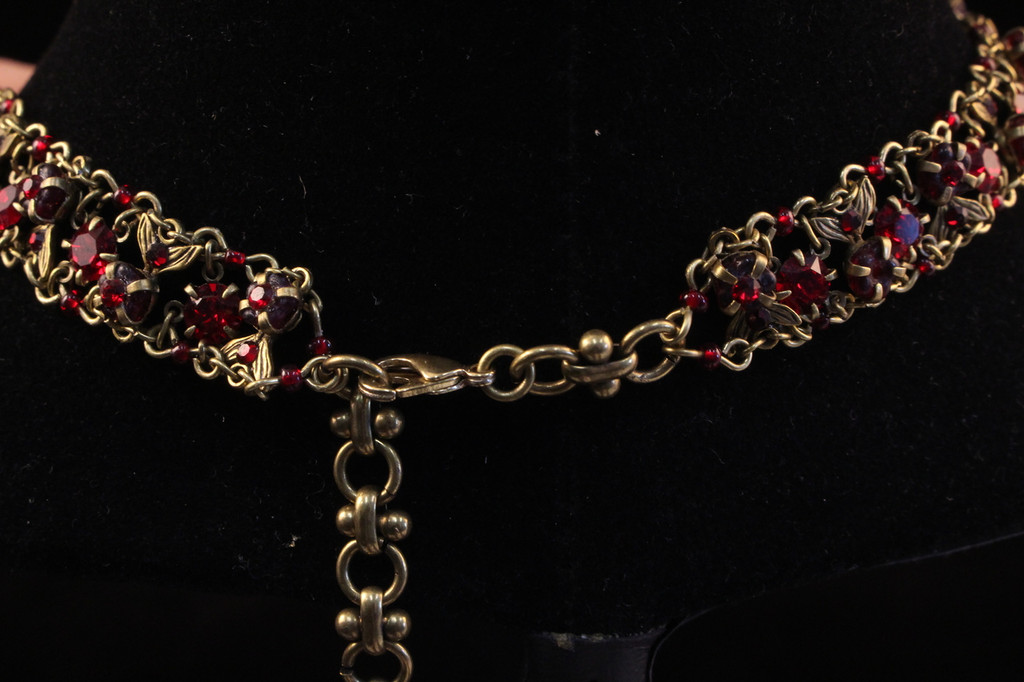 """Michal Negrin Ruby red """"V"""" Necklace"""