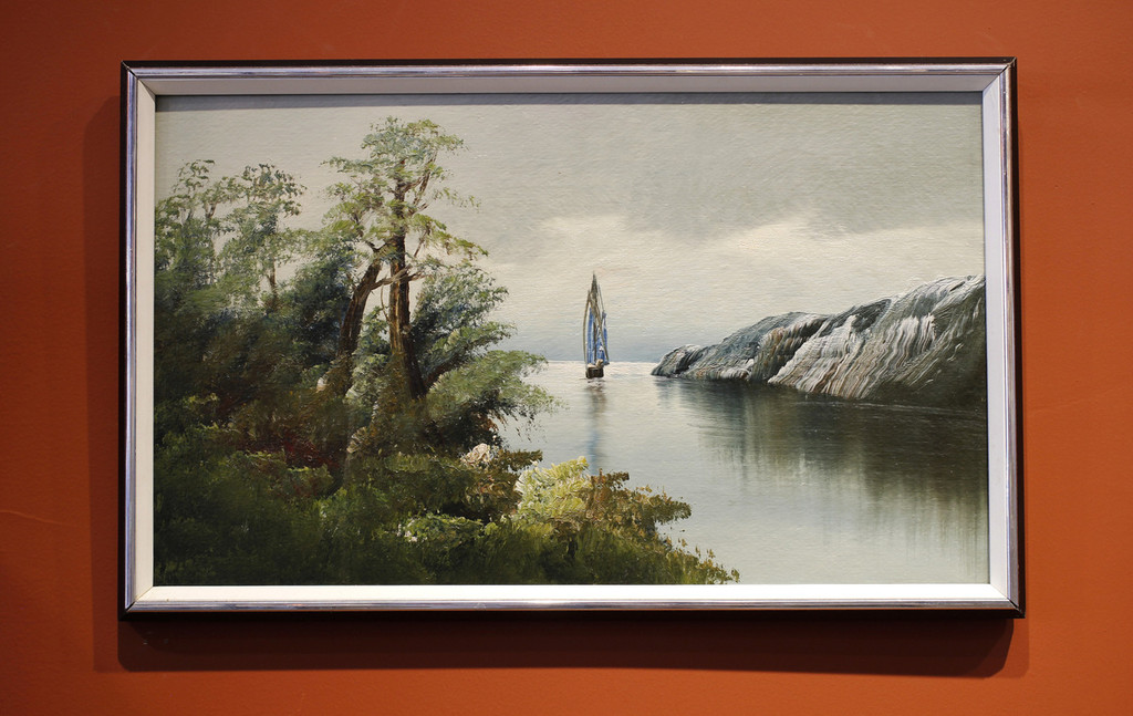 Water Scene with Trees and a Boat - Framed Vintage Oil Painting