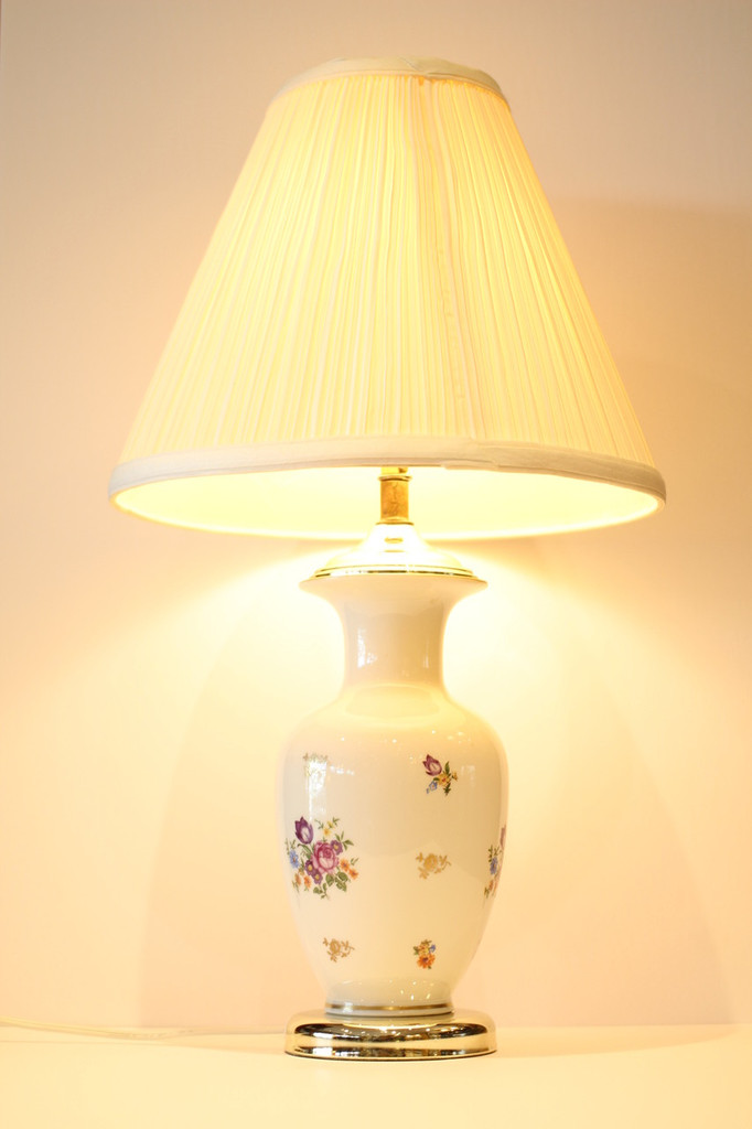 Vintage Table Lamp with Ceramic Base, Floral Decoration