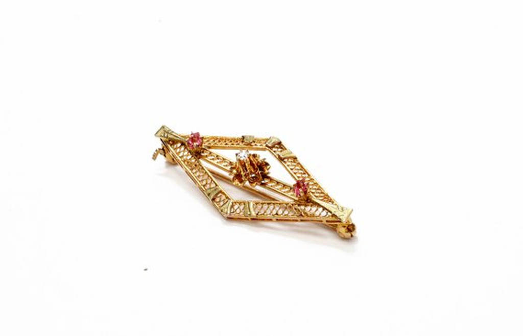 Vintage Pink Diamond and Gold Brooch