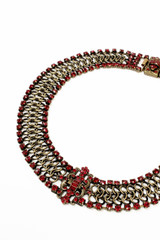 Michal Negrin, Chain mail, Swarovski, Crystal, Red,Rhinestone, Necklace, #15684