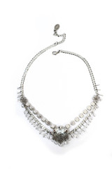 Michal Negrin Silver Metal and Clear Crystal Necklace, #15577