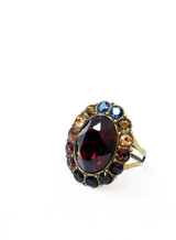 Michal Negrin, Large, Dark, Iridescent, Swarovski, Crystal, Ring, Adjustable