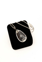 ETCHED CRYSTAL PENDANT NECKLACE ST SILVER
