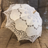 Beige/Ecru Old-Fashioned, Parasol, Umbrella, Batternburg , Lace, large.