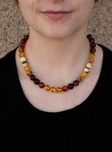 Round, Baltic,  Natural, Amber, Bead, Necklace,