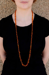 Long Vintage Honey Amber Bead Necklace