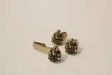 Vintage Buddha cufflinks and tie clip set - gold tone