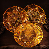 """Federal Pioneer Amber Glass Plate 11.5""""w"""