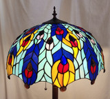 Tiffany style floor lamp - blue/yellow peacock feather design
