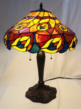 Tiffany style table lamp - red/yellow leaf design