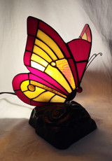 Tiffany style butterfly accent lamp - red and yellow