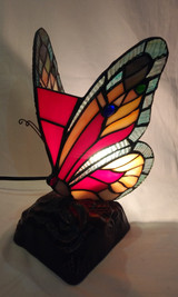 Tiffany style butterfly accent lamp - multi-coloured