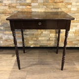"""A sturdy vintage brown painted wood table with a single dove tail joined drawer.  In very good condition with slight wear commensurate with its age.  Likely from the ~1940s.  28"""" High  20"""" Deep  29"""" High  FT57074  Ibon Antiques 10423 79 Avenue in Edmonton's Old Strathcona neighbourhood."""