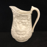Belleek, Parian Ware, Green Man, Mask, Small, Pitcher, Vintage, Eggshell, Jug, Yellow Lustre