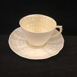 Belleek, Limpet, Yellow Lustre, Parian Ware, Teacup, and Saucer, Vintage, Eggshell
