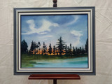 Framed oil/acrylic painting - Spruce trees/lake/sunset - Ken Godfrey