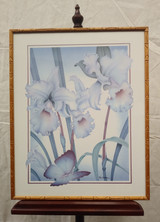 Framed print - airbrush - White Flowers and Butterfly,  Paul Elliot