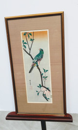 "Framed woodblock print ""Parakeet on Crabapple"" - Hiroshige Ando"
