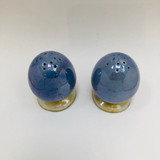 Grimwades, Blue Byzanta ware, Egg Shaped salt and pepper shakers, pair, ~1920s, England