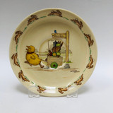 Royal Doulton Bunnykins Casino saucer - pulling bunnies, wagon, hunt ball, Barbara Vernon
