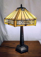 SOLD OUT Tiffany style stained glass table lamp - hexagonal, cream coloured