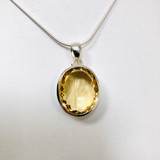 Citrine, Faceted, Oval, Pendant, Sterling Silver