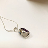 Amethyst, Natural, Faceted, Oval, Pendant, Sterling Silver, Medium