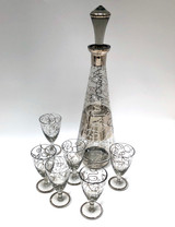 Retro, Vintage, Barware, Bar Ware, Decanter, Set, Stems, Overlay, Silver, String Design,