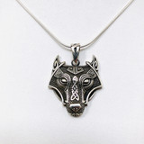 Sterling, Silver, Wolf, Head, Celtic, Pendant,