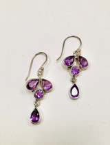 Amethyst, Faceted, Teardrop, Round, Dangle, Earrings, French Hook, Sterling Silver