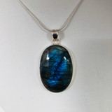 Pendant, Labradorite, Oval, Cabochon, Sterling Silver, Silver, Large
