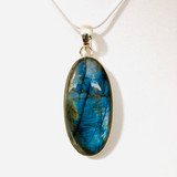 Pendant, Labradorite, Oval, Long, Cabochon, Sterling Silver, Silver, Large