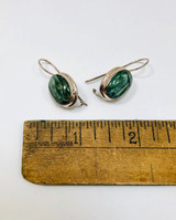 Seraphanite, Oval, Cabochon, Earrings, French Hook, Sterling Silver