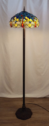 Stained glass Tiffany style floor lamp - orange/clear dragonflies, blue background