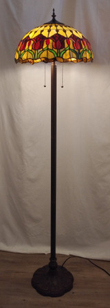 Stained glass Tiffany style floor lamp - red tulips