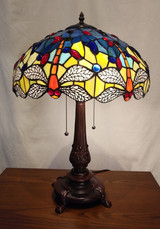 Stained glass Tiffany style table lamp - orange/clear dragonflies, blue background