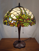 Stained glass Tiffany style table lamp - antique green design