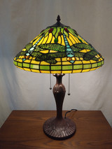 Stained glass Tiffany style table lamp - green/blue dragonfly, yellow background
