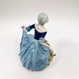 Rosenthal, Lady, Figurine, Germany, Hand Painted, Vintage, Cobalt, Gold