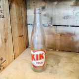 Kik Cola, Clear, Textured, Glass, Bottle, Vintage, ~1950s, Dominion Glass, Canadian