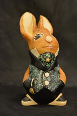 PenDelfin Uncle Soames rabbit figurine. Black spattered with blue, white and green  waistcoat with black trousers.