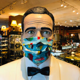 Face Mask, Mask, Vintage Textile, Colourful Retro Style Print on Turquoise, Double layer, 100% Cotton, Fabric