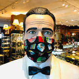 Face Mask, Mask, Vintage Textile, Colourful Retro Style Print on Black, Double layer, 100% Cotton, Fabric