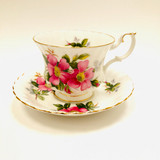 Royal Albert, Alberta, Prairie Rose, Tea cup, Cup, Saucer, Cup and Saucer, Teacup, Wild Rose, Pink, Rose, Floral, Vintage