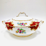 Royal Albert, Canterbury, Two handled, Vegetable, Covered, Bowl, Casserole, Vintage, England, Steampunk