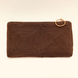 Corde, Brown, Clutch, Hand Bag, Purse, Handbag, Vintage, Brass Zipper