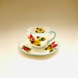 Shelley, Dainty,  Begonia, Floral with Blue Trim, Cup, Tea cup, Teacup, Saucer, Vintage, Fine Bone China, England