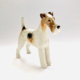 Beswick, Wire Haired Terrier, Dog, Talavera Romulus, Figurine, Fine Bone China, England, White, Brown and Black, Vintage