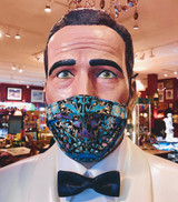SOLD OUT Face Mask, Mask, Floral, Peacock, Lined in Gold, Purple, Aqua, Blue on Black, 100% cotton, Double layer, Reusable with covered nose wire, Adjustable